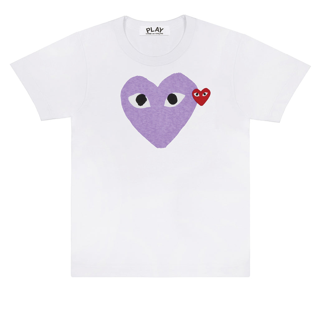 COMME des GARCONS PLAY Purple / Red Heart T-Shirt White