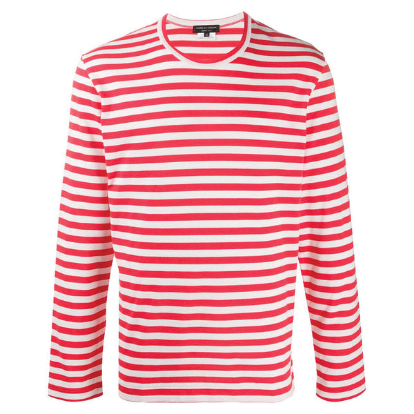 COMME des GARCONS Homme Plus Striped Longsleeve White / Red PE-T025-051-2