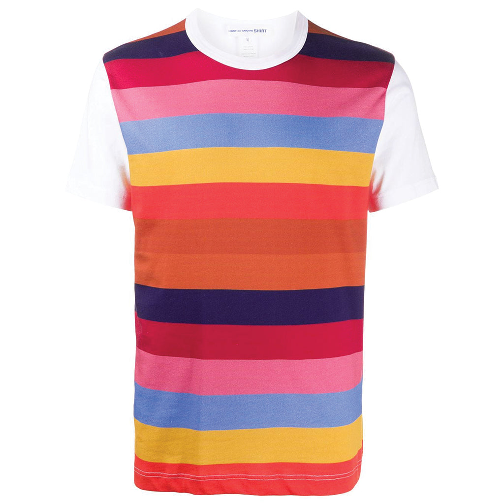 COMME des GARCONS SHIRT Striped Graphic T-Shirt White