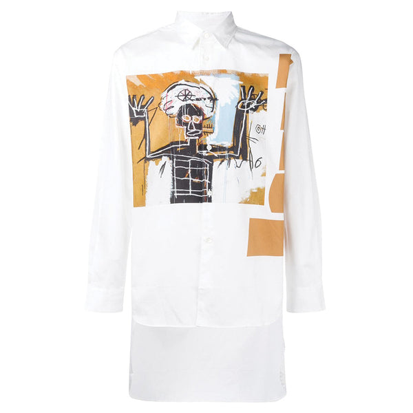 COMME des GARCONS SHIRT x BASQUIAT Artwork Shirt Brown Stripes