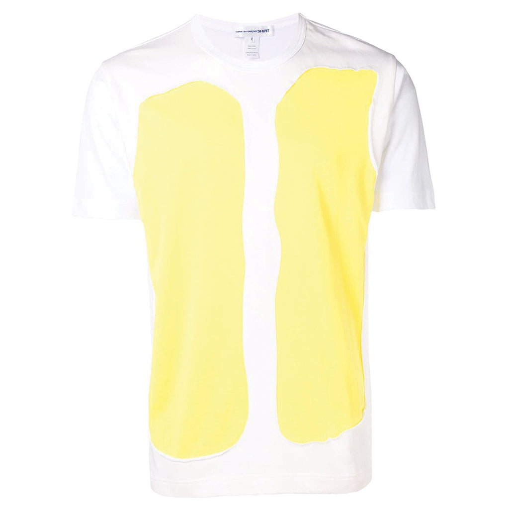 COMME des GARCONS SHIRT White / Yellow Panel T-Shirt