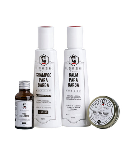 Kit Confidence  - Shampoo para barba, balm para barba, óleo para barba, cera para bigode - Wood light - Mr Confidence