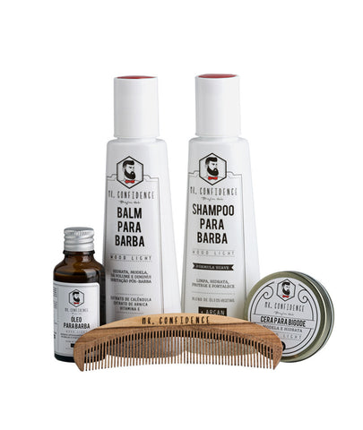 Kit Confidence Mais - Shampoo para barba, balm para barba, óleo para barba, cera para bigode e pente para barba - Wood light - Mr Confidence