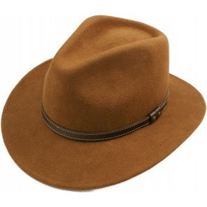 Fedora Hat Light Brown with Faux Leather Band