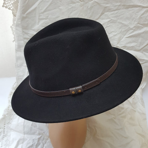 100% Wool Black Fedora with Faux Leather Band