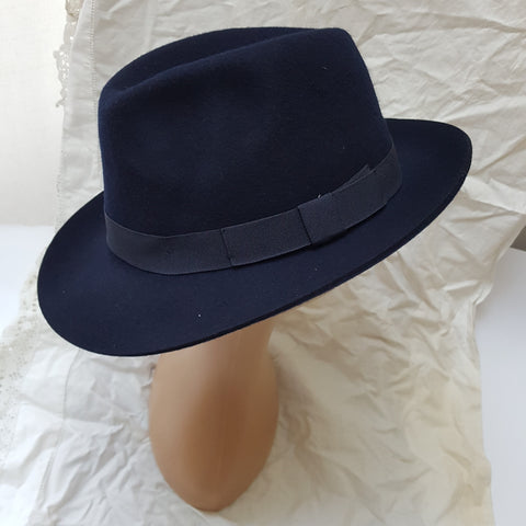 Blue 100% Wool Fedora