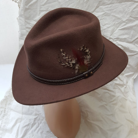 Brown 100% Wool Fedora