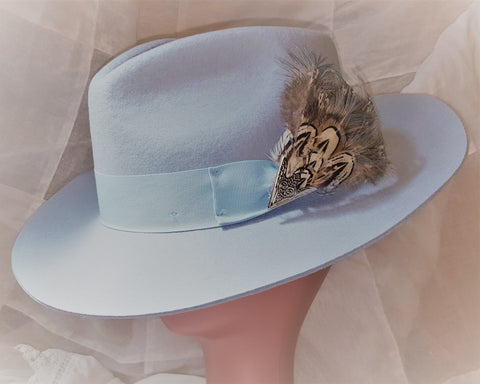 Pale Blue 100% Snap Brim Fedora