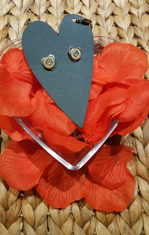 Silver Heart Shaped Earrings With Cartridge End