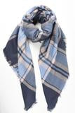 Super Soft Heavyweight Blue and Pink Tartan Scarf