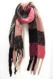 Super Soft Large Checkered Blanket Scarf with thick braided tassels.