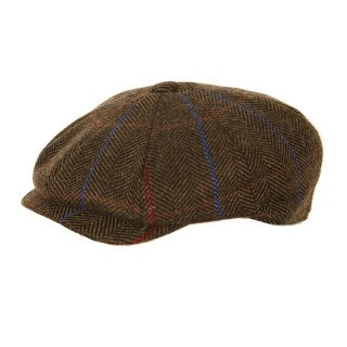 Adults Unisex Tweed 8 Pannel Cap