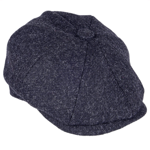 Archie Eight Panel Peaked Cap in Moons Tweed with Button