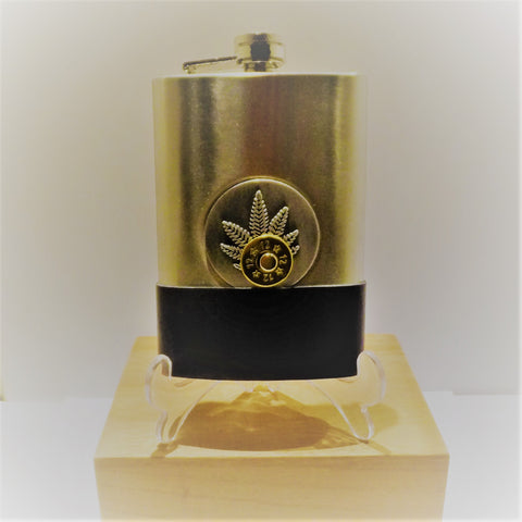 Stainless Steel Hip Flask with Leather and Cartridge Detail