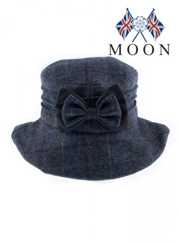 Dents Abraham Moon Check Hat with Bow Detail
