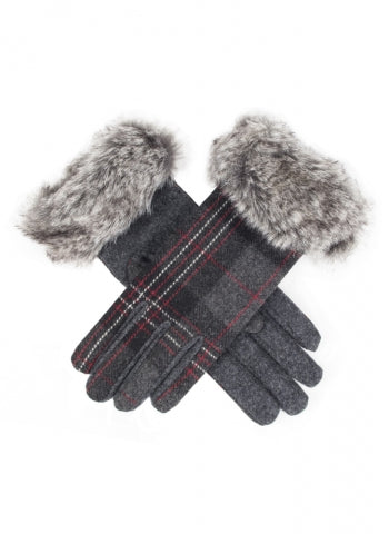 Dents Women's Tartan Gloves with Faux Fur Cuffs