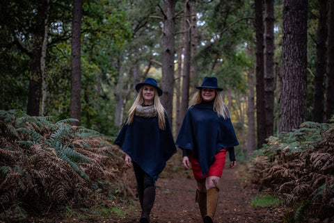 Limited Edition 100% Wool Navy Open Neck Poncho