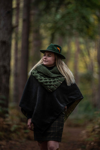 Limited Edition 100% Wool Dark Green Open Neck Poncho