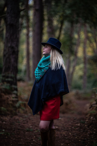 Limited Edition Hand Knitted Chunky Cable Neck Warmer In Turquoise