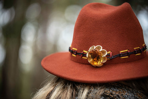 Hand Decorated Rust Coloured Fedora 100% Wool