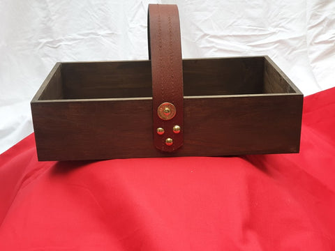 Wooden Trug with Leather Handle and Cartridge Motif