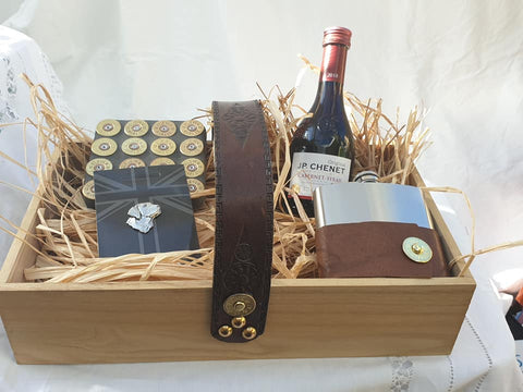 Luxury Fathers Day Trug Full of Gifts With Cartridge Decorated Hip Flask