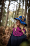 100% Wool Felt Floppy Blue Hat  with Feather Band and Brooch Decoration