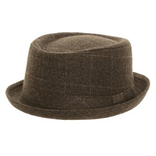 Unisex Grey Tweed Check Porkpie