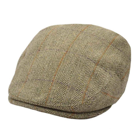 Check Tweed Flat Cap - Olive-Green