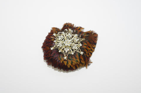 Round Feather Brooch
