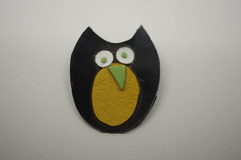 Owl Leather Brooch