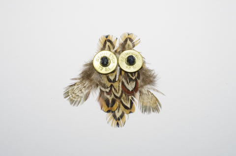 Unique Owl Feather Brooch