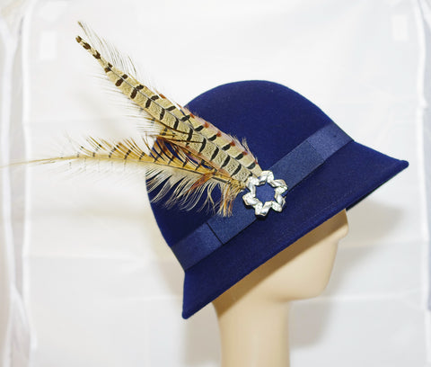 Navy Blue Cloche Hat With Feather Decoration