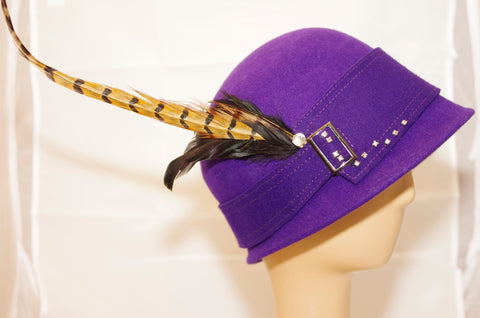 Purple Cloche Hat with Feather and Diamante Detail