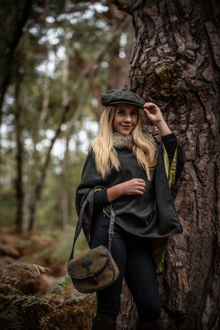 Limited Edition 100% Wool Dark Green Poncho with Faux Fur Collar