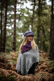 Hand Knitted High Neck Part Lined Poncho Grey