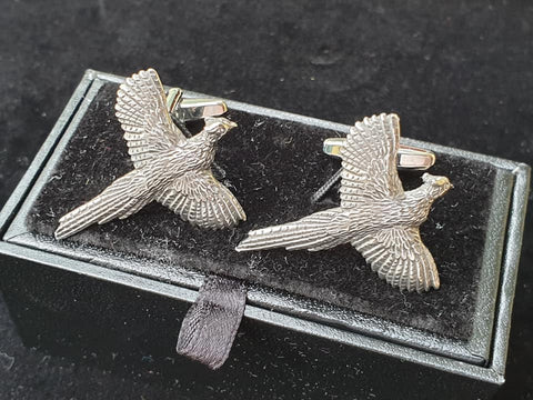 Pewter Country Style Cufflinks with Flying Pheasant Design