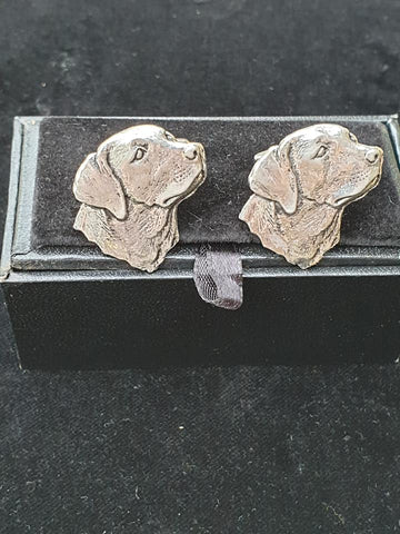Pewter Country Style Cufflinks with Gun Dog (Labrador) Design .