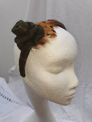 Limited Edition Dark Green Tweed Head Band