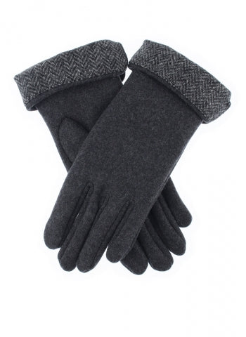 Dents Women's Fabric Gloves with Abraham Moon Herringbone Cuffs