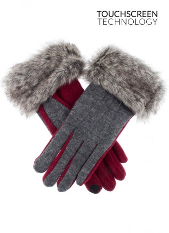 Dents Women's Touchscreen Fabric Gloves with Faux Fur Cuffs