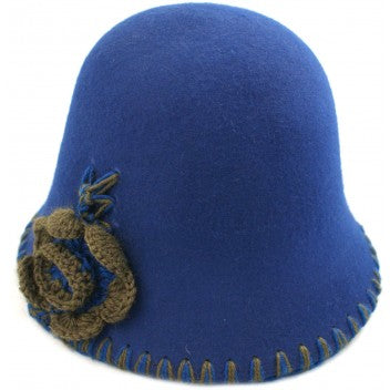 Women's Wool Felt Vintage Cloche Hat with Blanket Stitched Brim
