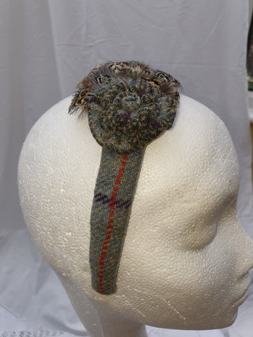 Limited Edition Grey with Red Stripe Tweed Head Band