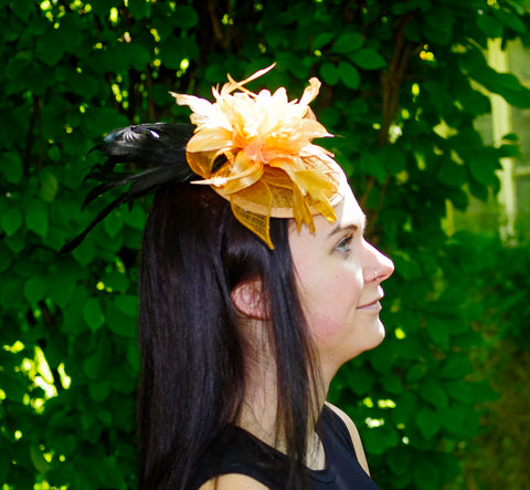 Black and Mustard Fascinator with Feathers