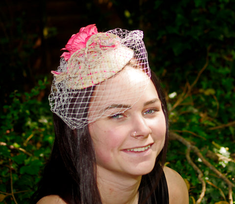 Pink Tweed Fascinator with Flower and Net Veil