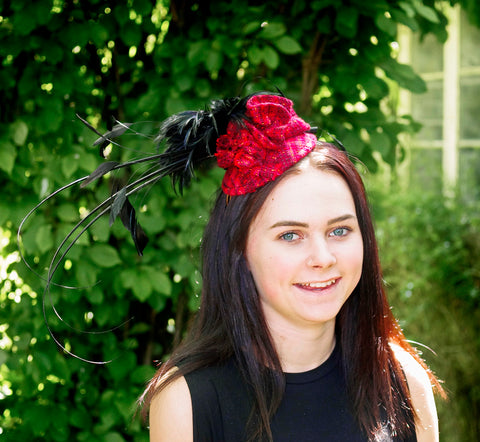 Red Tweed Fascinator with Black Plume