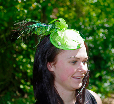 Lime Green Fascinator with Peacock Feather Design