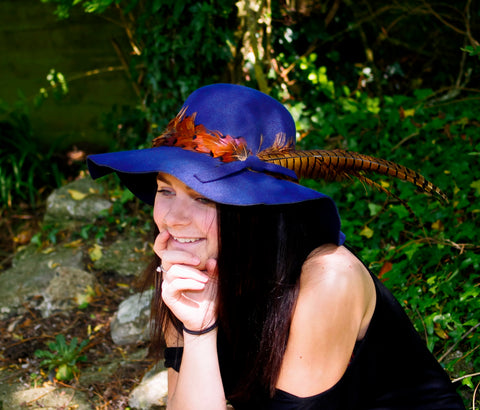 Felt Wide Brimmed Floppy Hat with Feather Decoration