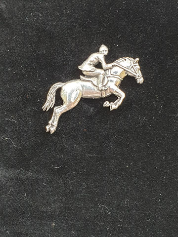 Pewter Tie Pin / Pin Badge Horse and Jockey Design.