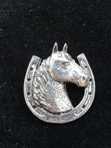 Pewter Tie Pin / Pin Badge Horse Head in Horse Shoe Design.